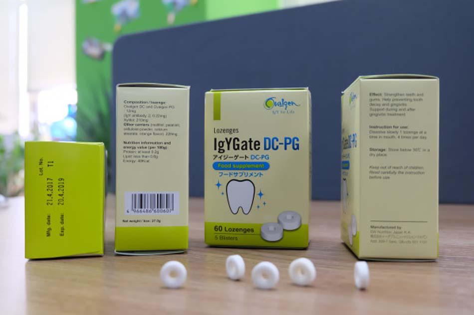 Viên ngậm IgYGate DC -PG đến từ Nhật Bản với thành phần kháng thể IgY đặc hiệu