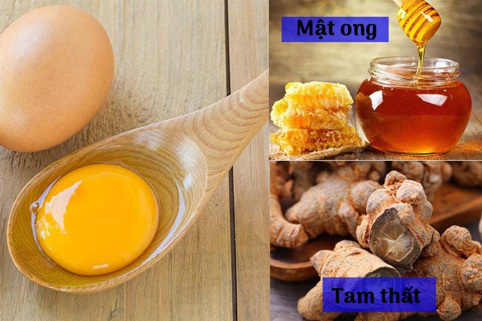 Lòng đỏ trứng gà cùng tam thất, mật ong là loại dược thiện bổ